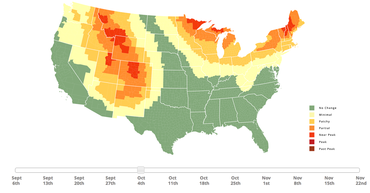 Fall Foliage Prediction Map When Leaves Will Change Color - Us fall color map