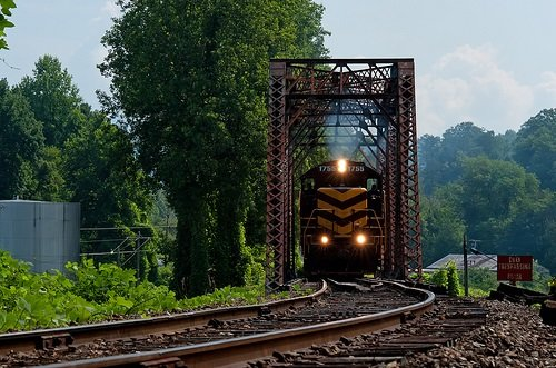 Great Smoky Mountain Railroad Engine on Bridge