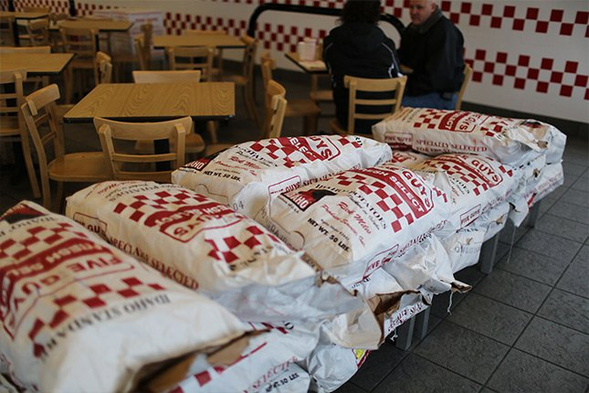 Fresh bags of potatoes at Pigeon Forge Five Guys