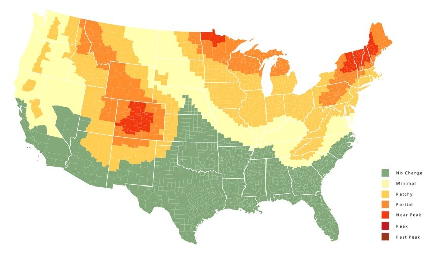 Fall Foliage Map Nationwide Peak Leaf Forecast - Map images