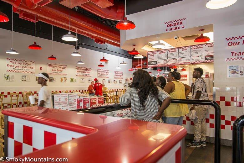 Customers Waiting for Food at Five Guys Gatlinburg