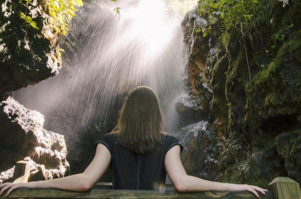 Beautiful waterfall at Foxfire Mountain Adventure Park