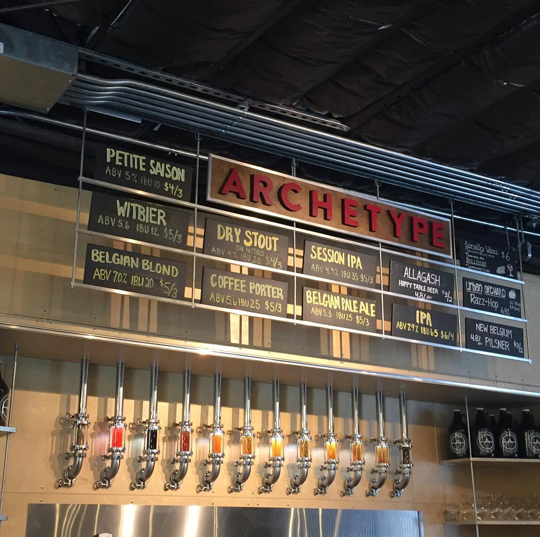 Beer Tap and Sign at Archetype Brewing Company