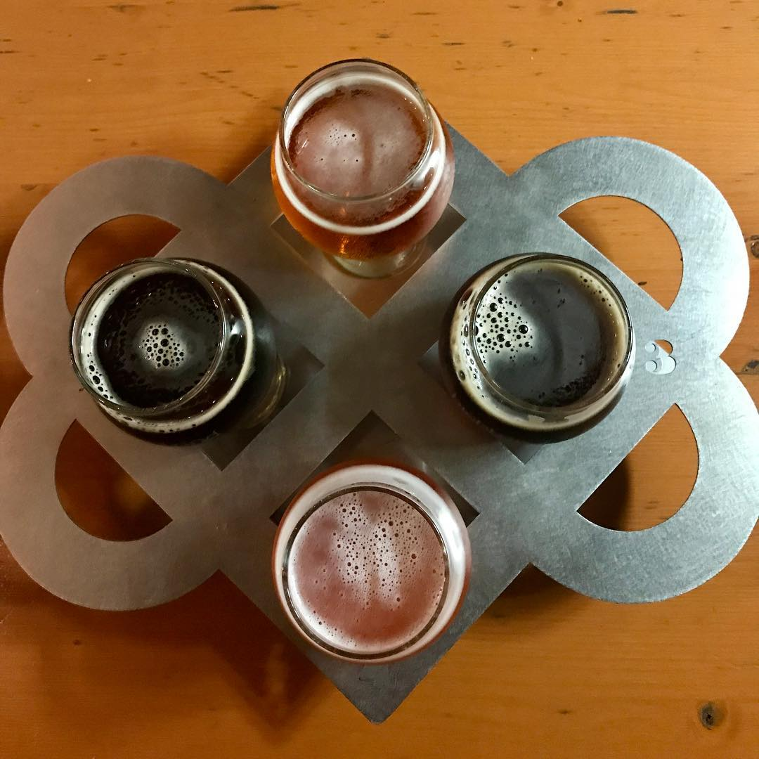 Flight of beer at Highland Brewing Company