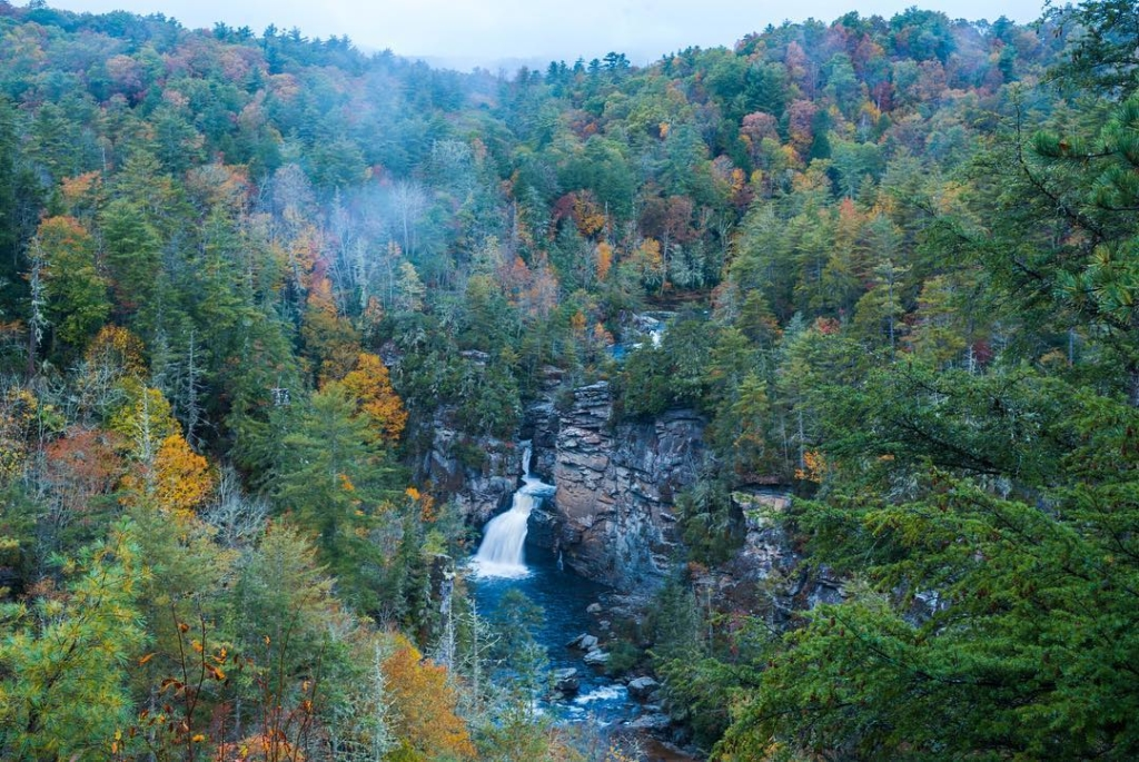 Stunning Waterfall View of Linville Falls Trail