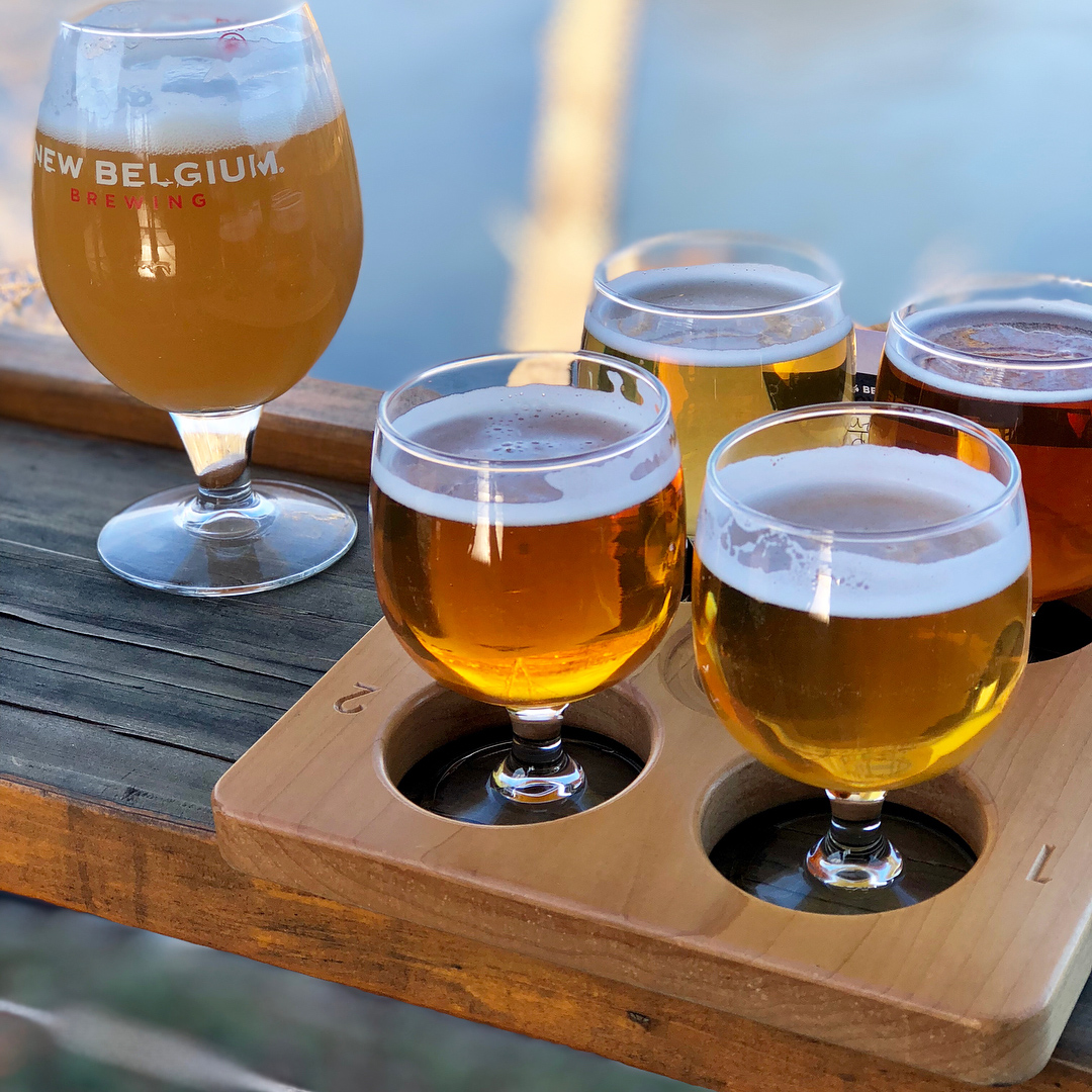 Flight of beers at New Belgium Brewing Company