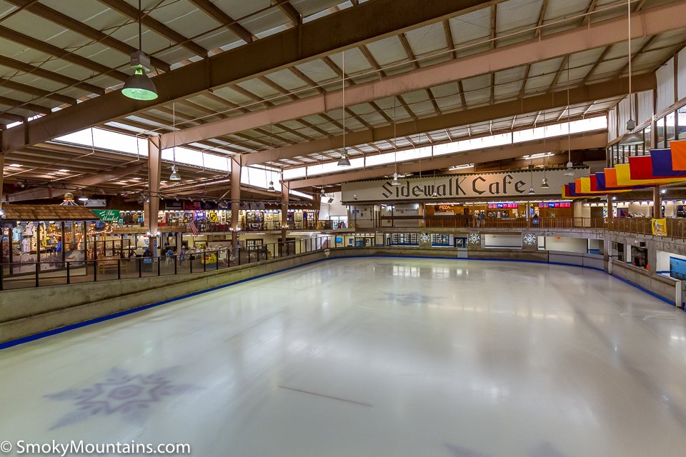 View of the ice skating area at Ober Gatlinburg