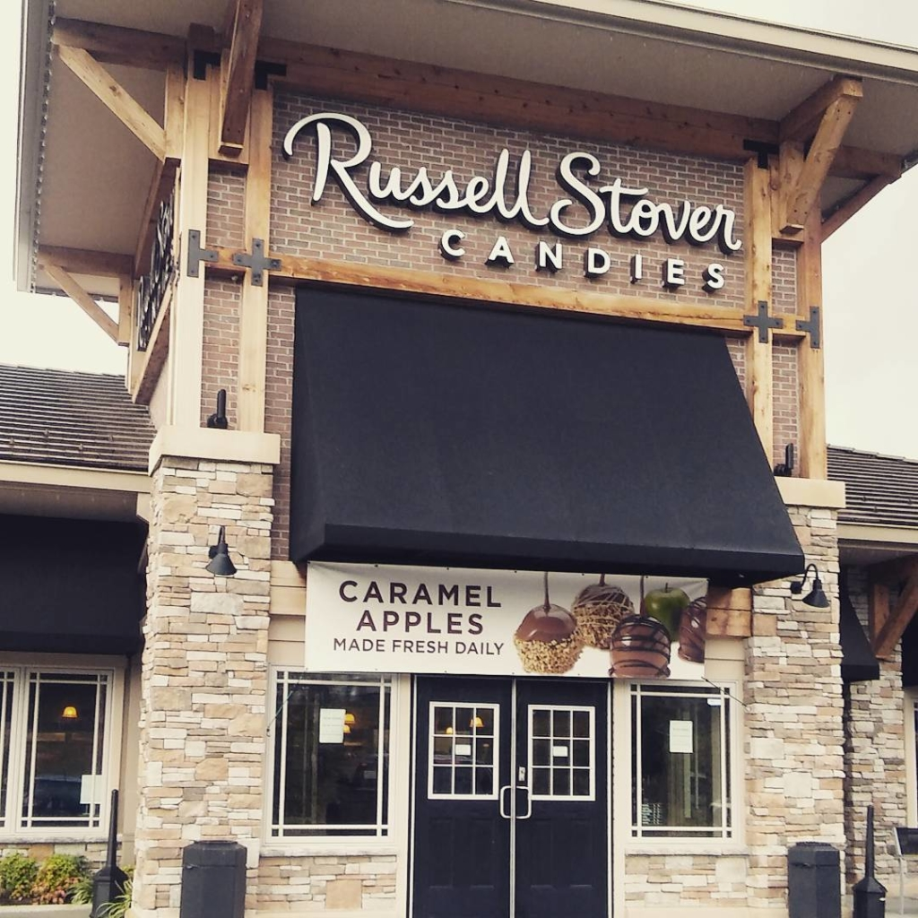 Outside storefront view of Russell Stover Retail Store