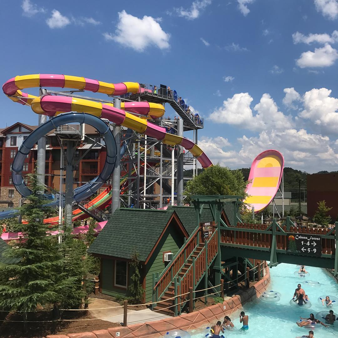 Pink and Yellow Water Slide at Wilderness at the Smokies