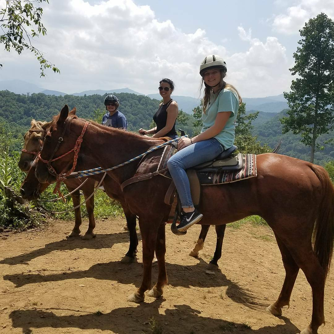 People on horseback at Dutch Creek Falls