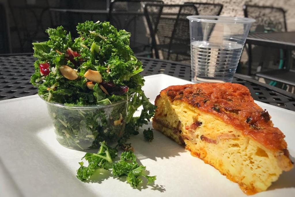 Quiche and Kale Salad on a plate