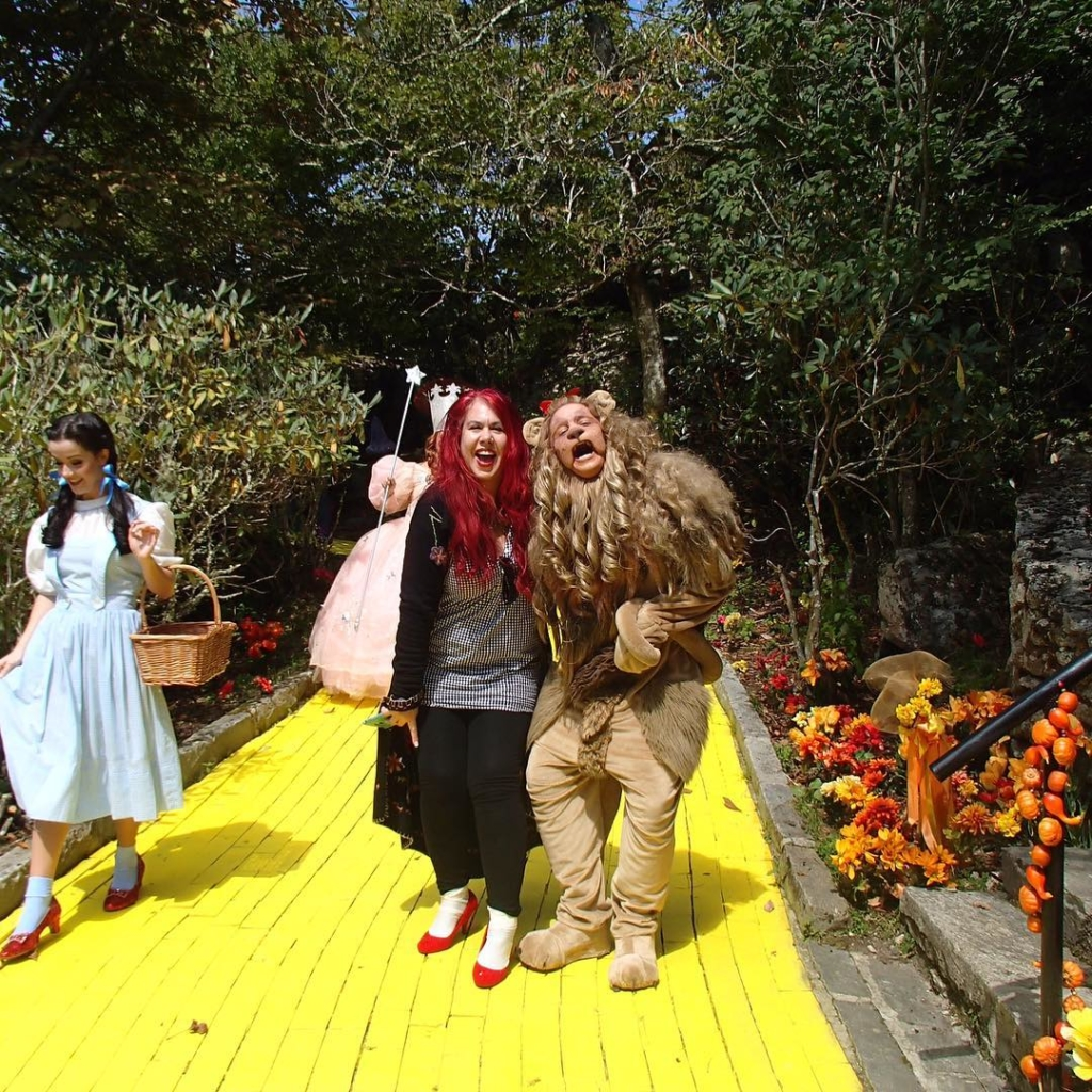 Dorothy, guest and lion on the yellow brick road