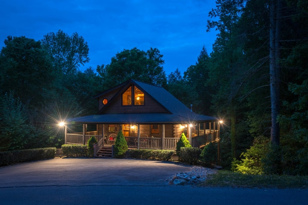 secluded cabin at night