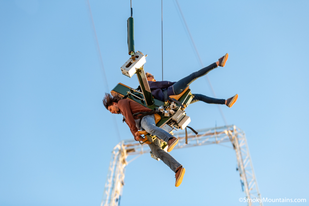 people propelled into the air at monster launch at pigeon forge mountain mile