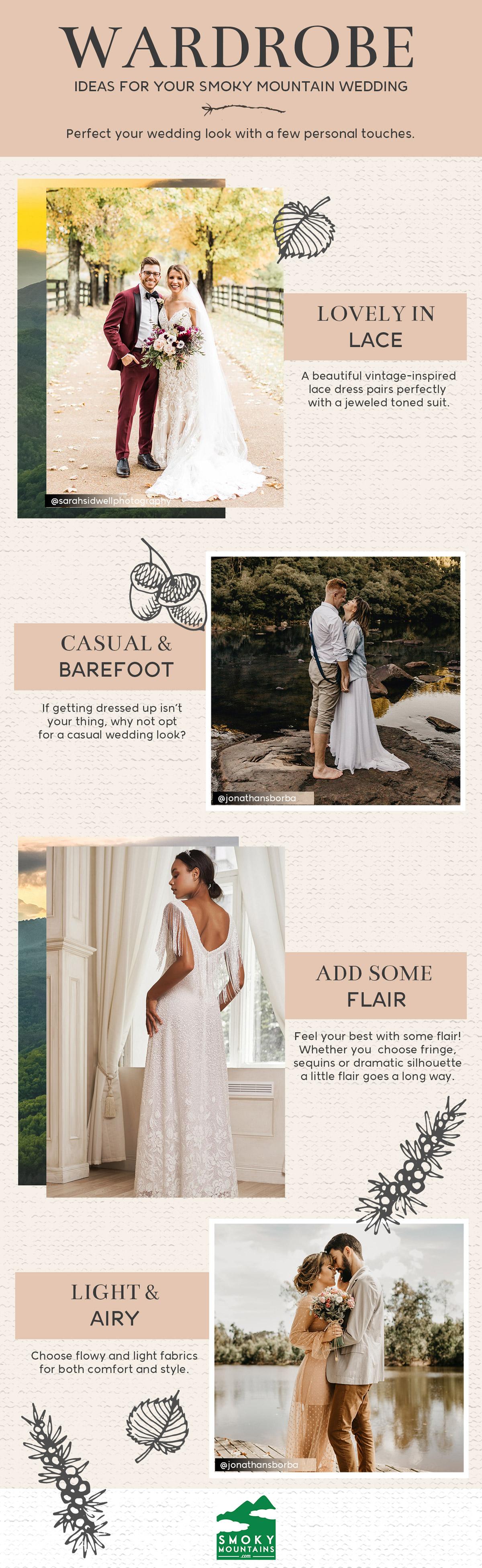Smoky Mountain Wedding Wardrobe Ideas