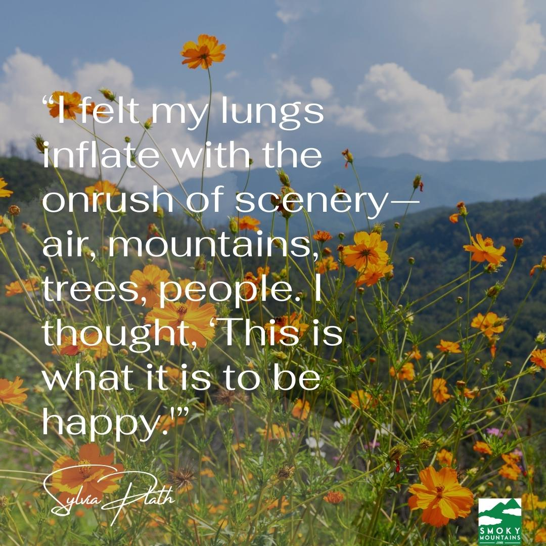 """""""I felt my lungs inflate with the onrush of scenery—air, mountains, trees, people. I thought, 'This is what it is to be happy.'"""""""